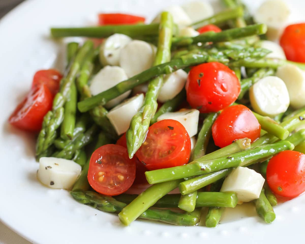 Asparagus Salad on a white plate