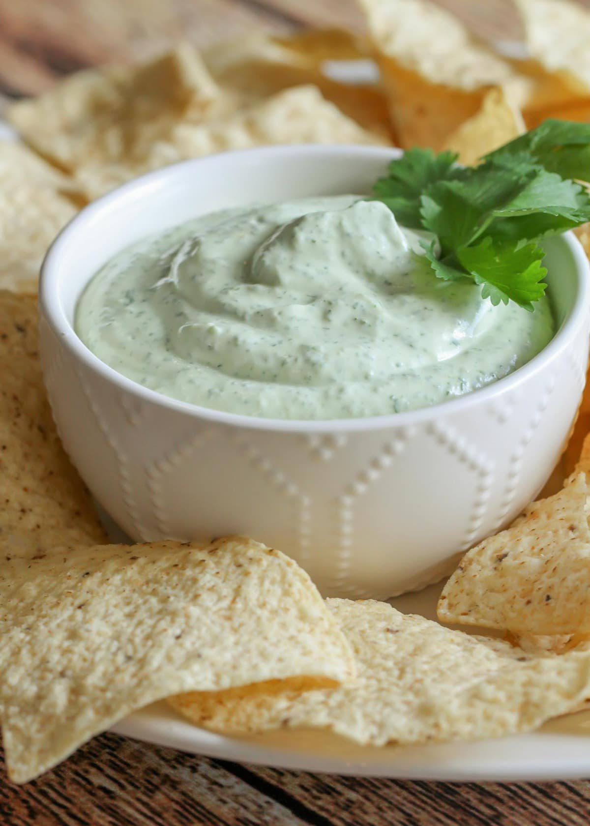Avocado Lime Ranch Dip with tortilla chips on the side