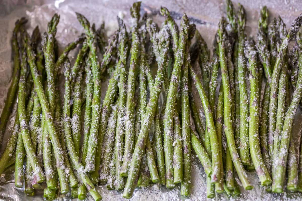 roasted asparagus sprinkled with parmesan cheese