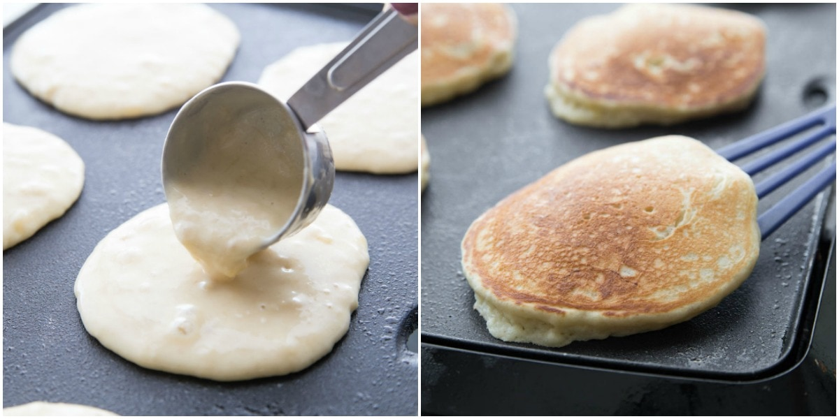 How to make banana pancakes pictures - on griddle