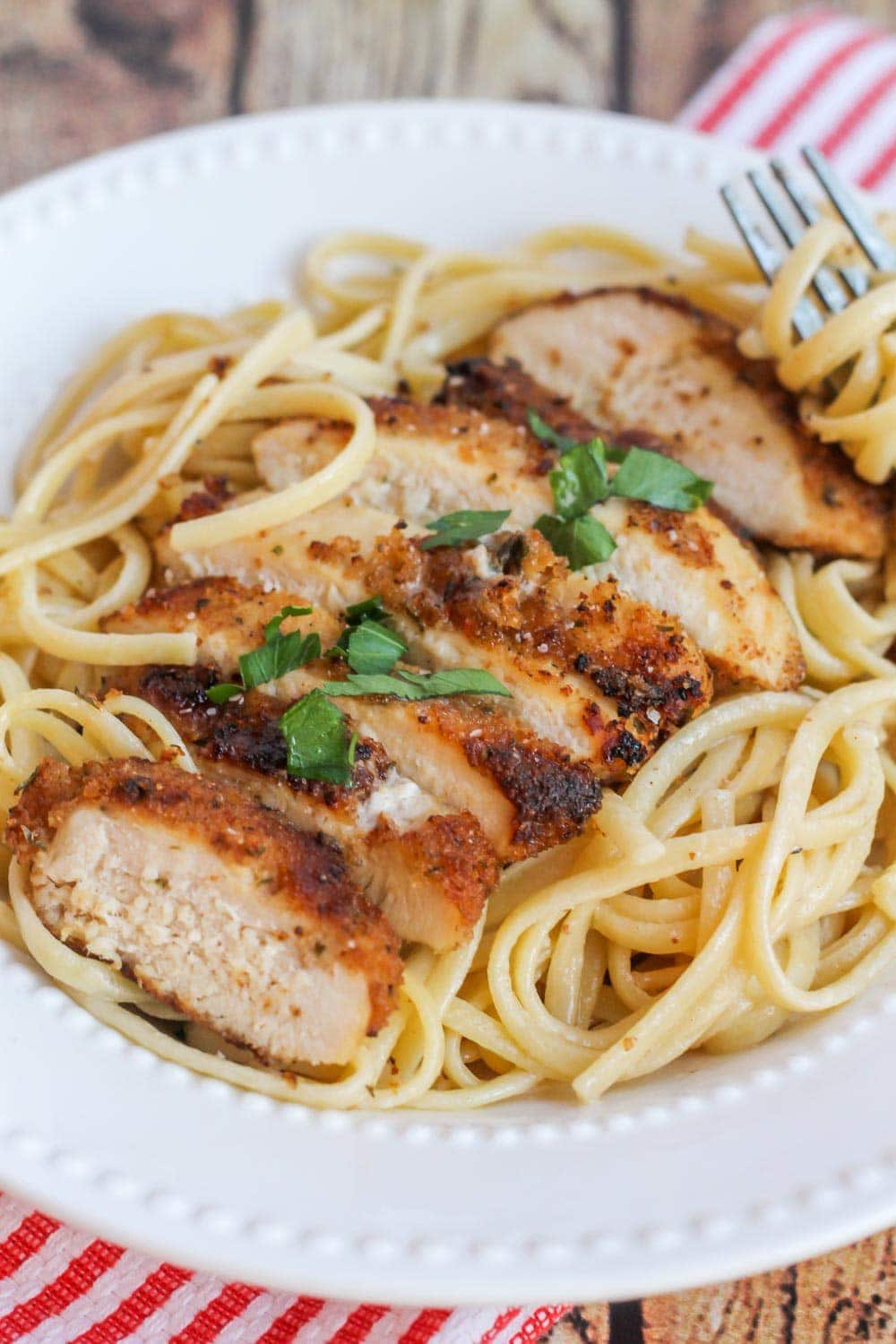 Chicken Scallopini recipe - chicken over pasta