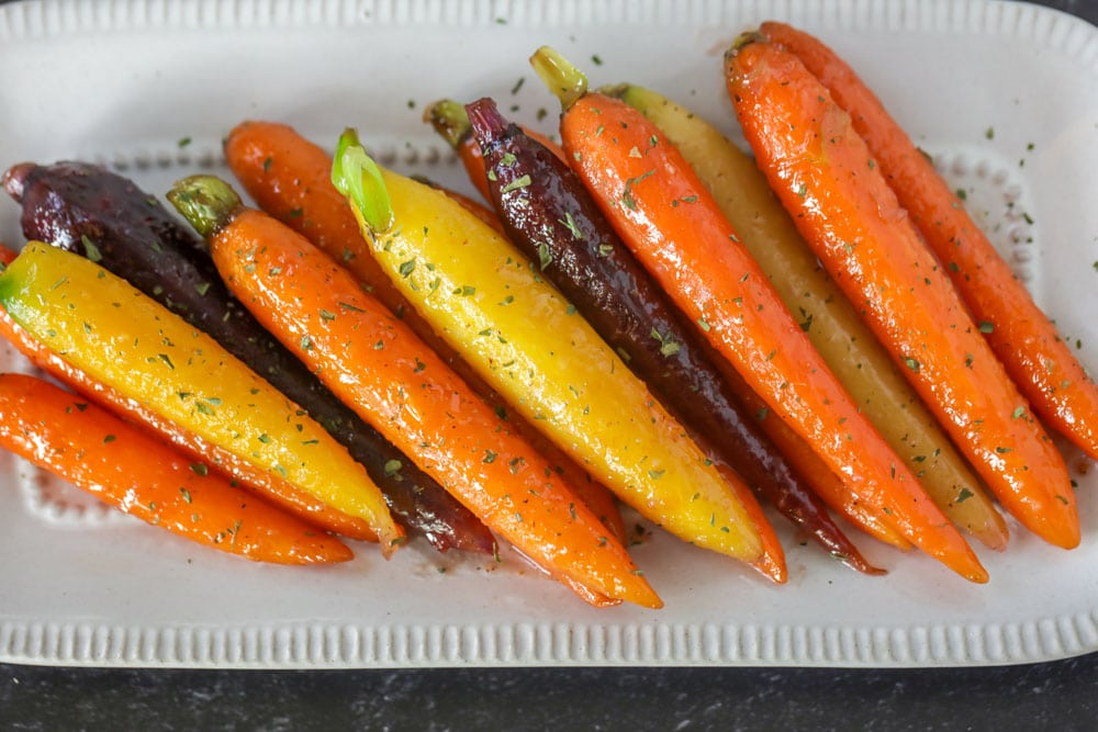 Honey glazed carrots on serving dish
