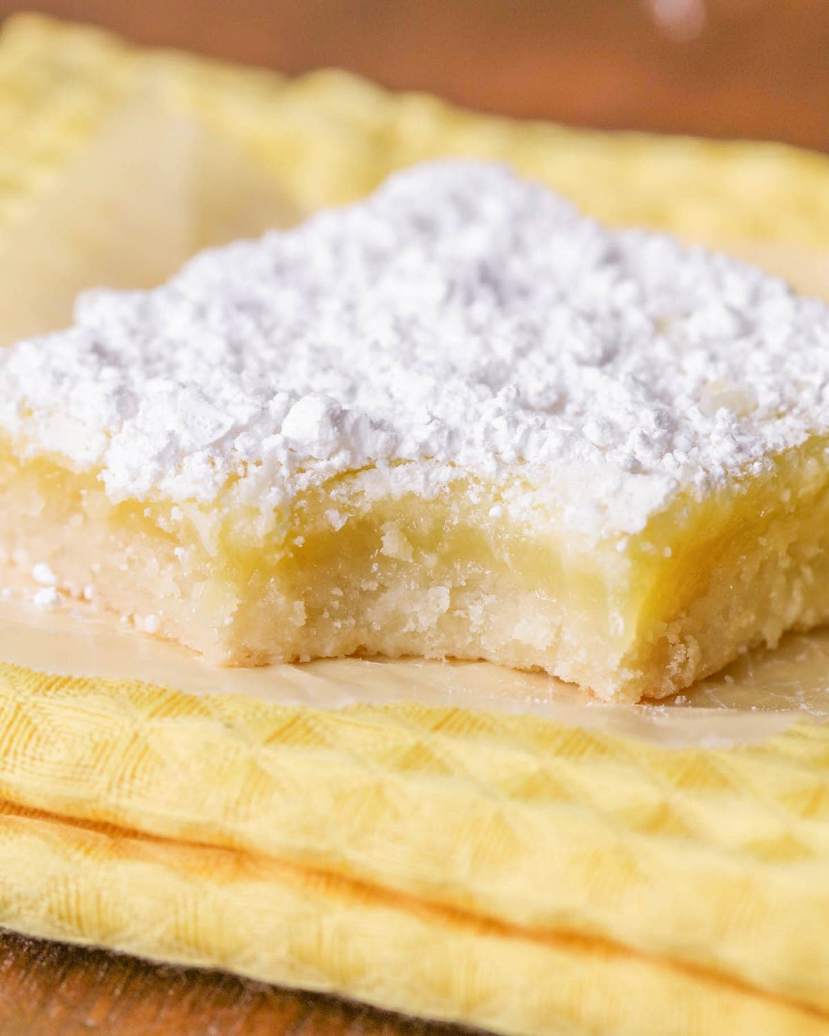 Lemon Bar Recipe with bite taken out