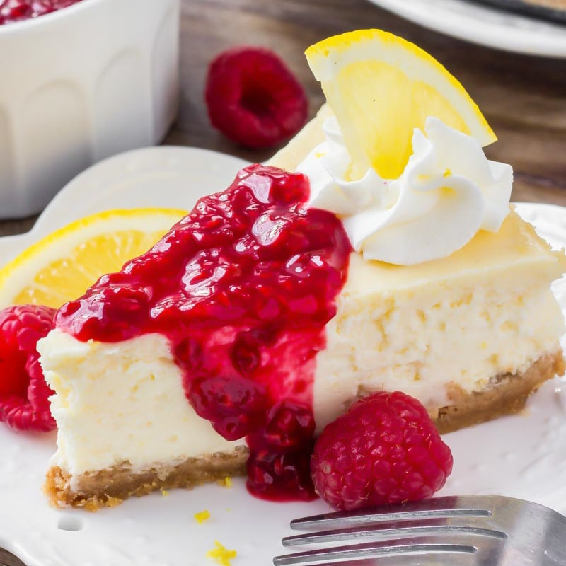 Lemon Cheesecake With Raspberry Sauce Lil Luna