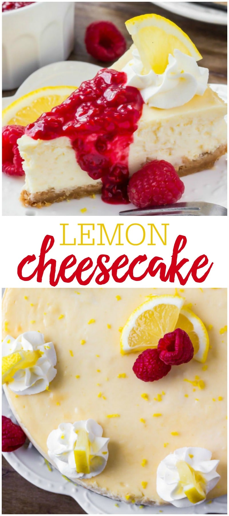 Best Lemon Cheesecake with Raspberry sauce