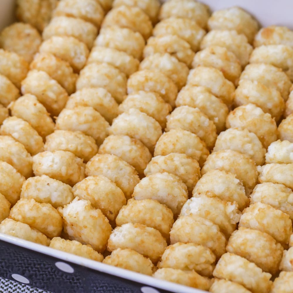 Tater tots in baking dish for casserole