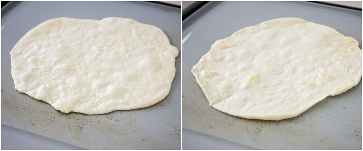 Cooking flour tortillas on skillet
