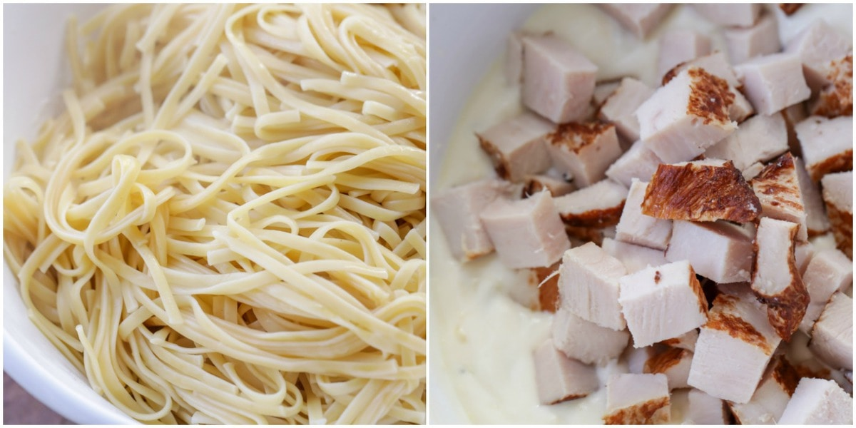 Cooked noodles and cubed chicken