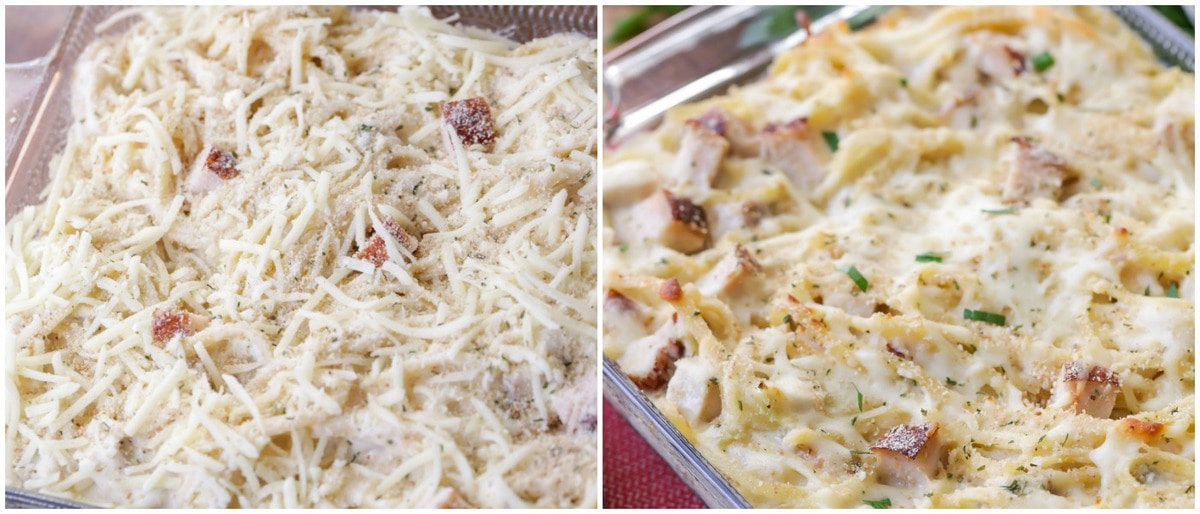 Collage of unbaked tetrazzini and baked turkey tetrazzini