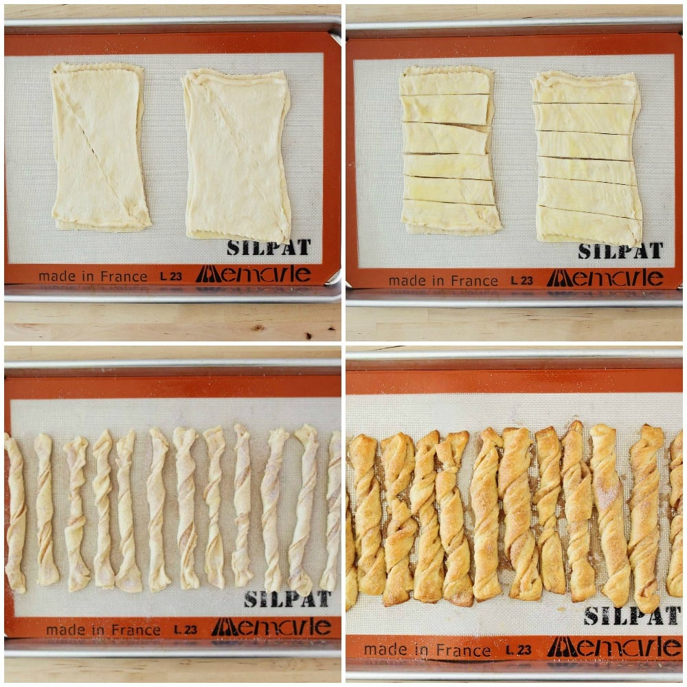 process shots for how to make cinnamon crescent twists