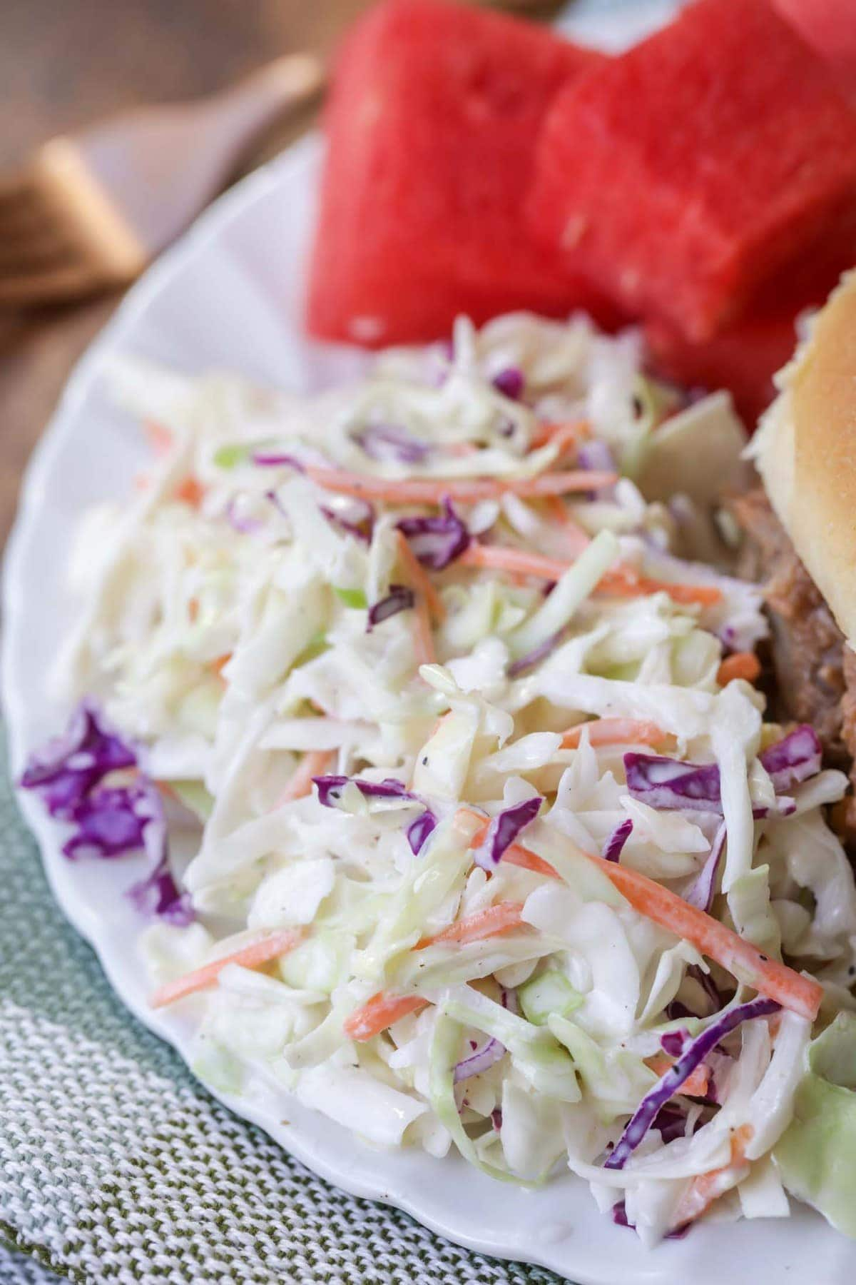Easy Coleslaw recipe on white plate