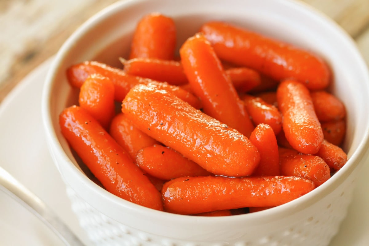 Glazed Carrots in a white bowl