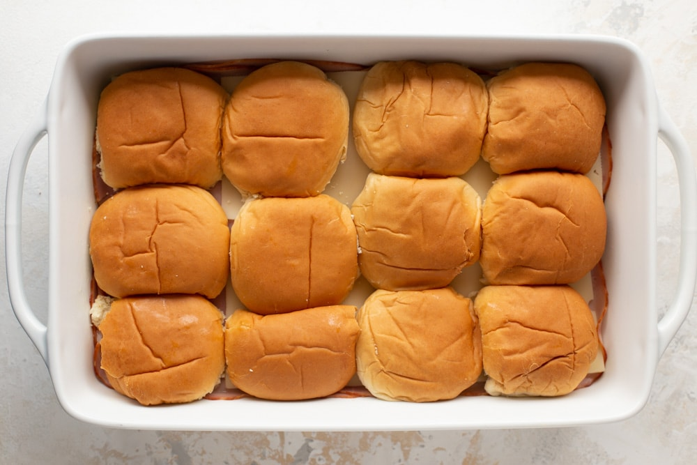 Ham and cheese sliders recipe - process pic