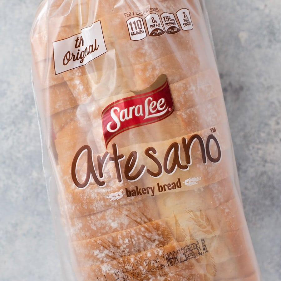 Sara Lee Artesano bread used for pizza sandwich