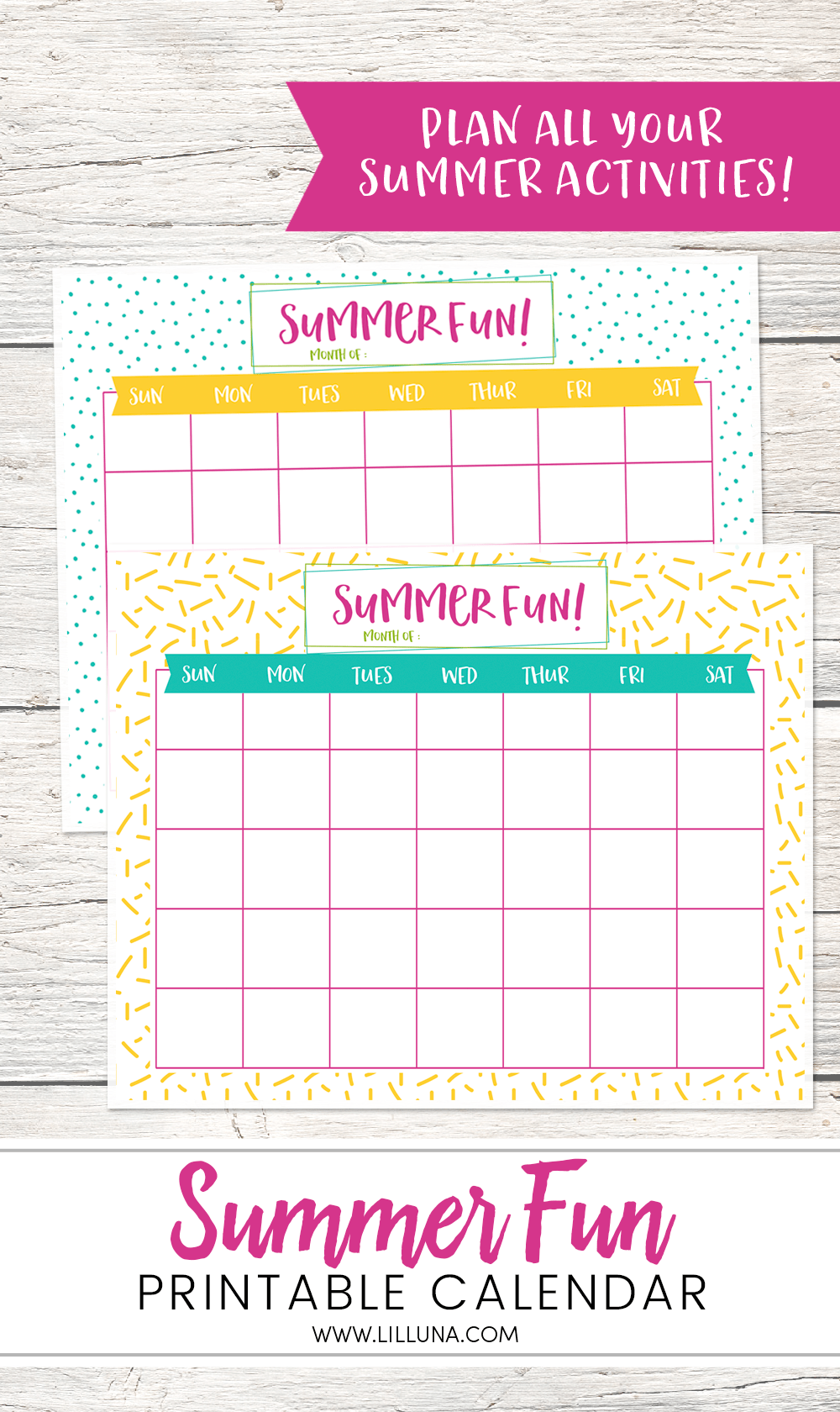 Summer Fun Printable Calendars