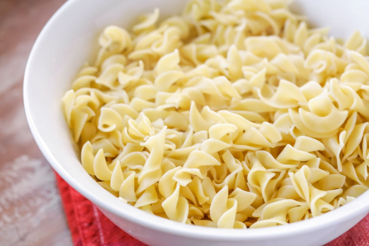 Egg noodles for beef stroganoff - in bowl