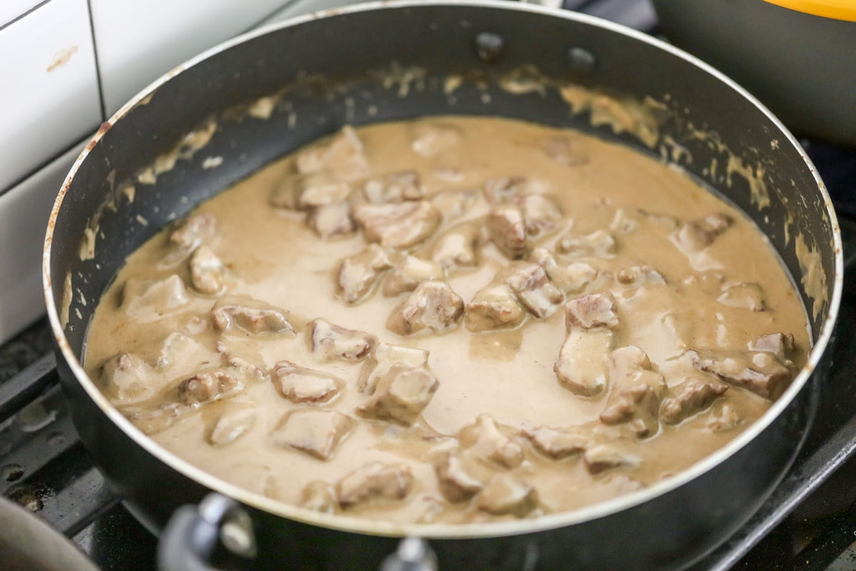 Homemade beef stroganoff in skillet