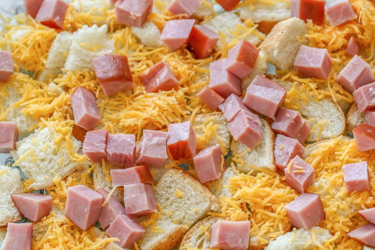 Breakfast Casserole with ham ingredients in dish