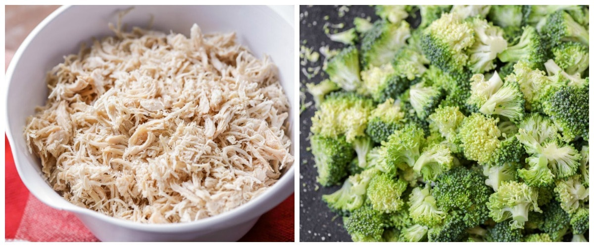 Broccoli Casserole ingredients - shredded chicken and broccoli