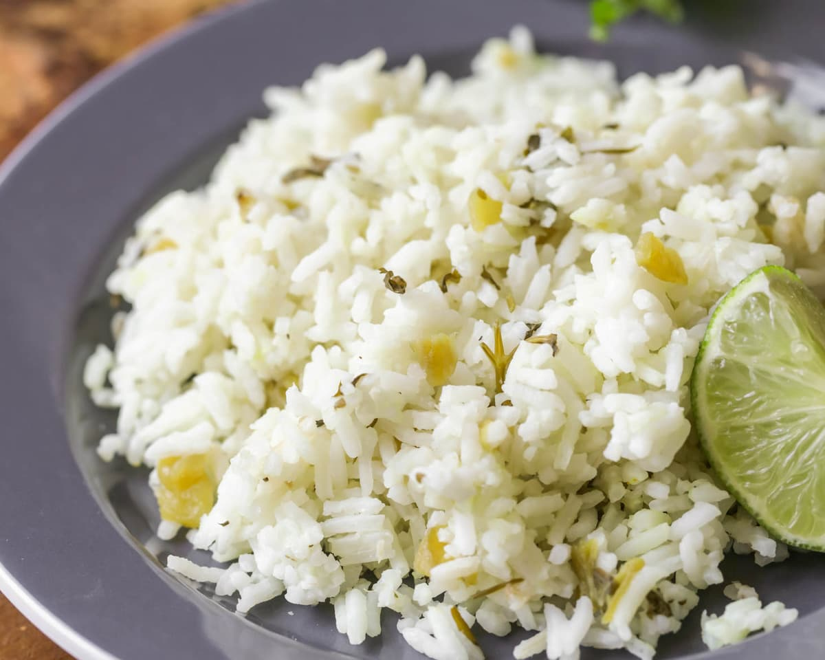 Cilantro Lime Rice aka Chipotle Rice on plate
