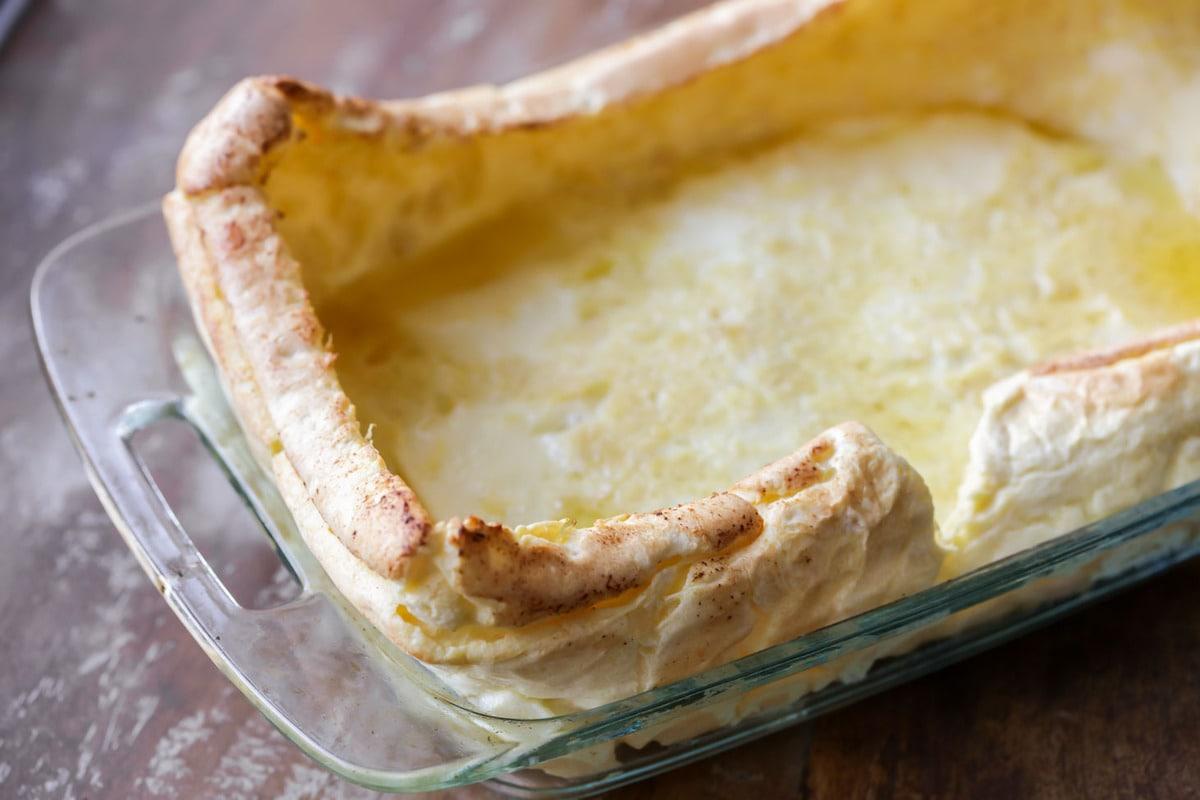 Puff Pancake Recipe in a glass baking dish