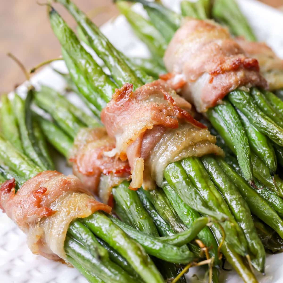 Christmas vegetable side dishes - green bean bundles perfect as Christmas side dishes