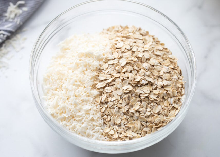 Coconut and oats in bowl for cookies