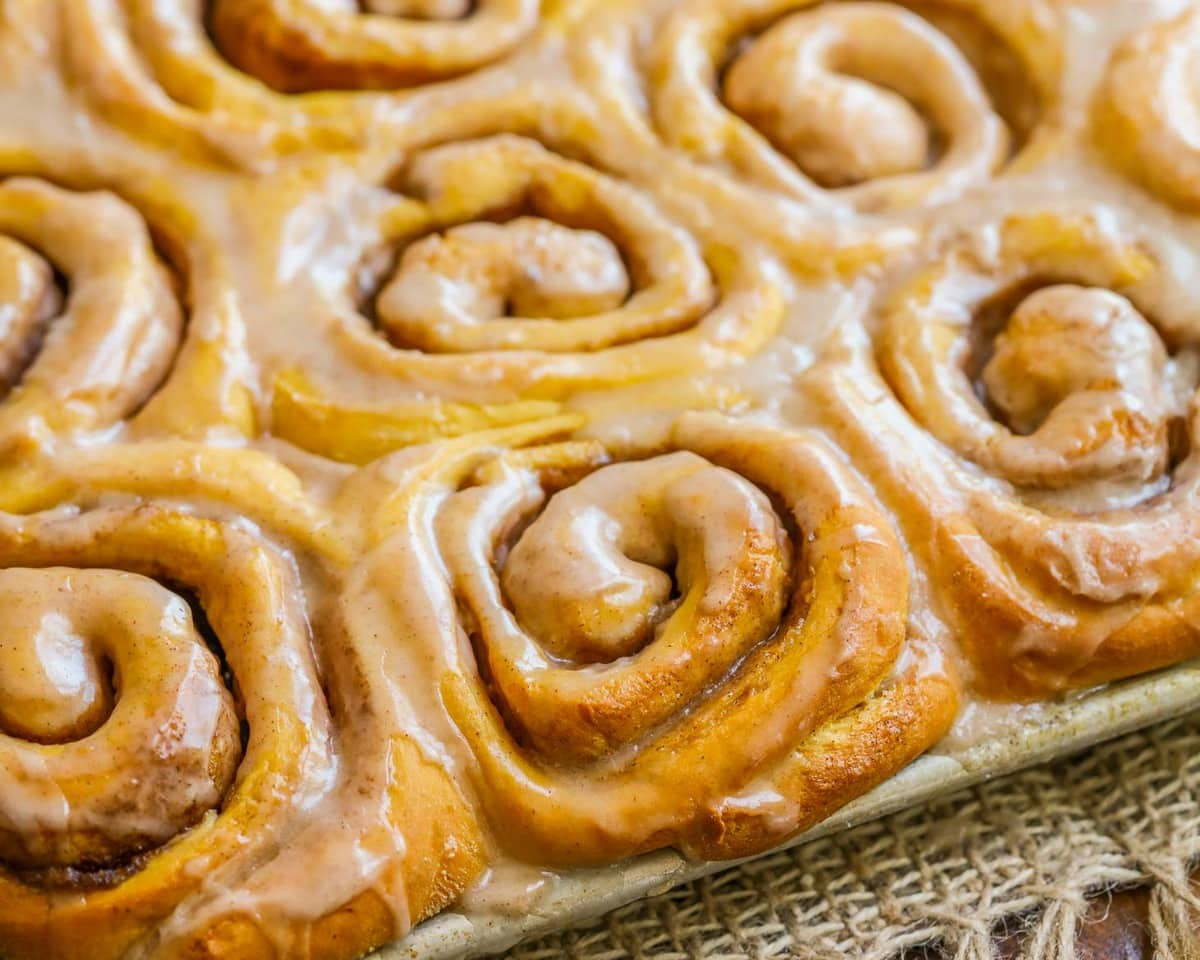 Pumpkin Cinnamon Rolls in a sheet pan