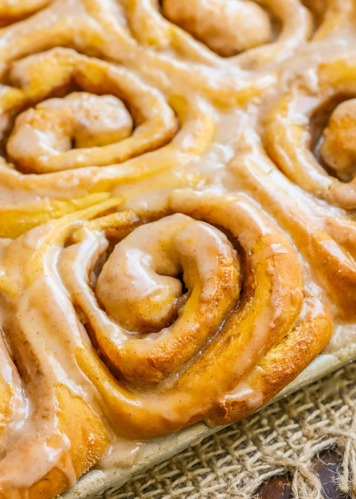 close up of Soft Pumpkin Cinnamon Rolls