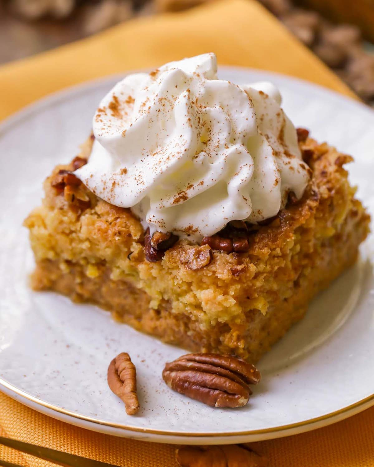 Close up of Pumpkin Dump Cake Recipe