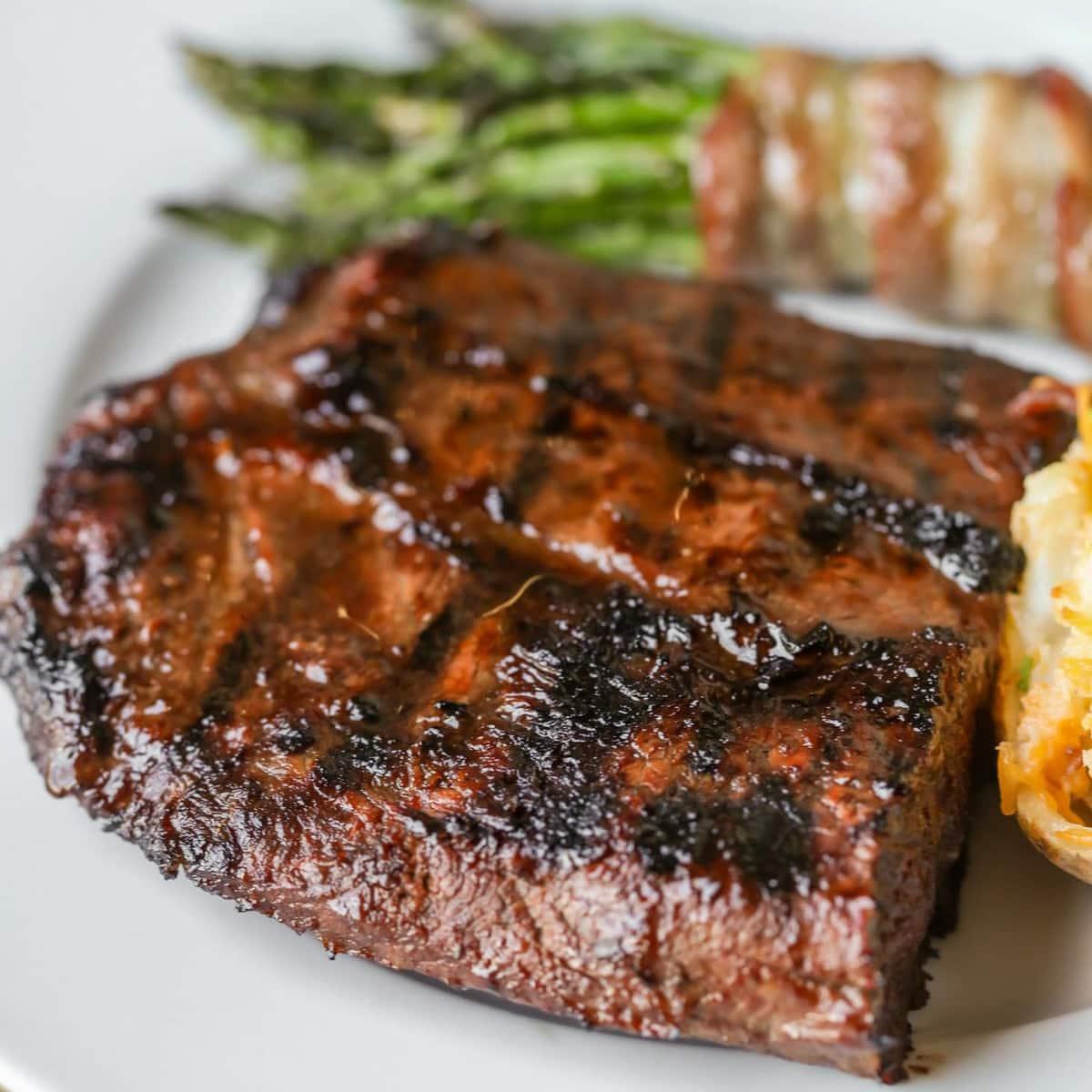 Easy Steak Marinade recipe - flat iron on plate