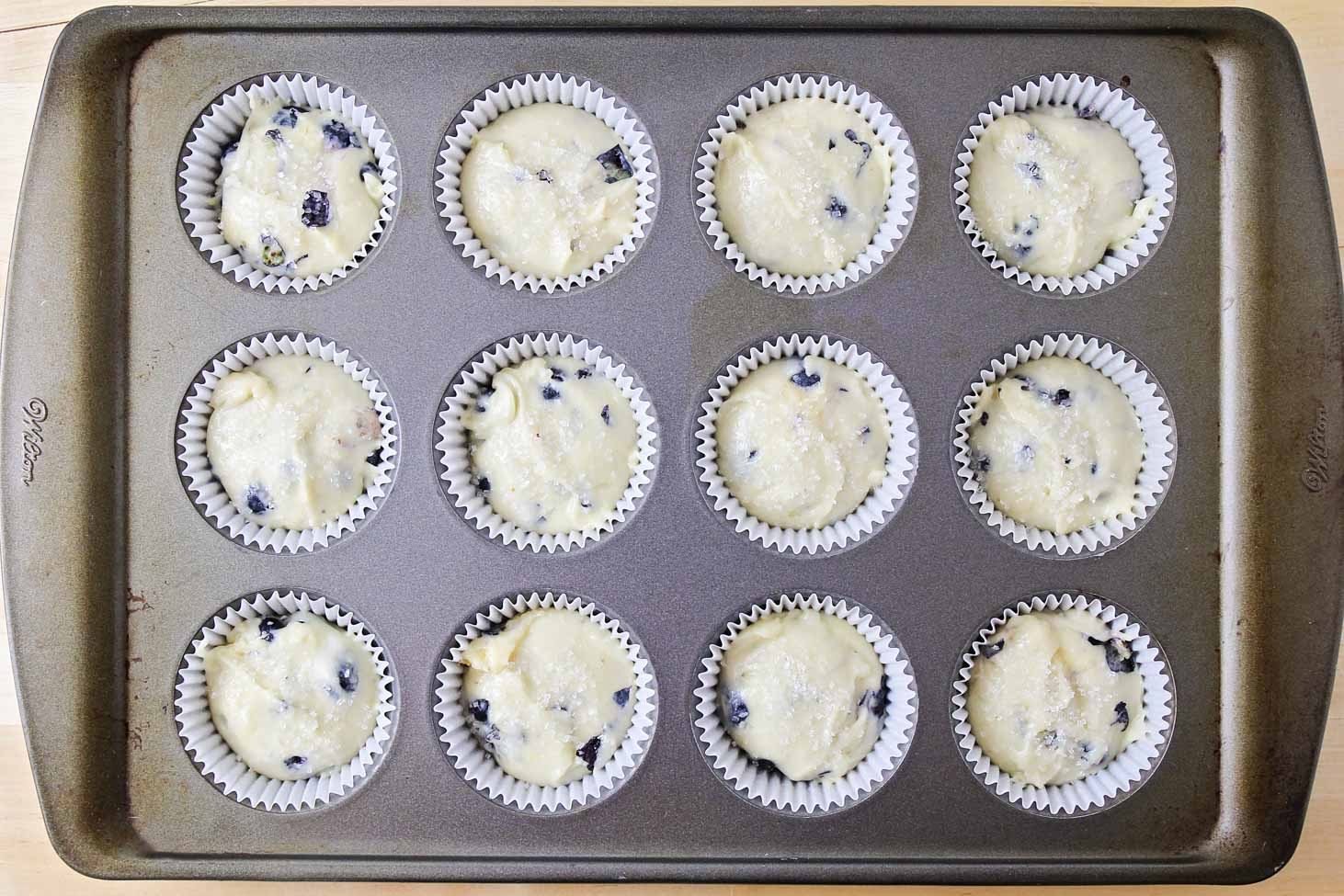 Homemade blueberry muffins in muffin tin