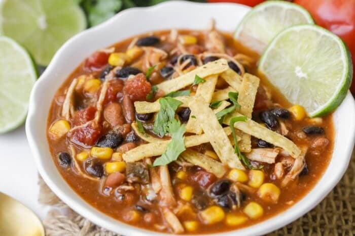 A bowl of chicken taco soup