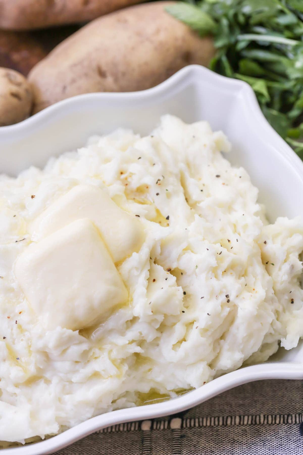 Mashed Potatoes Recipe with butter in dish