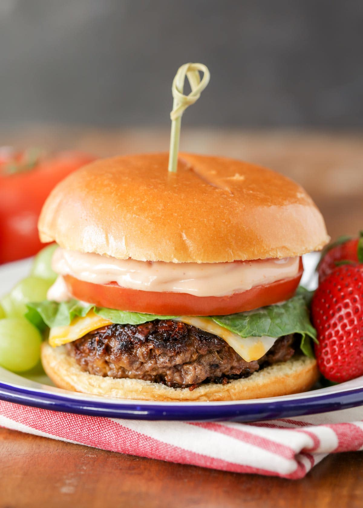 Ranch burger recipe on plate