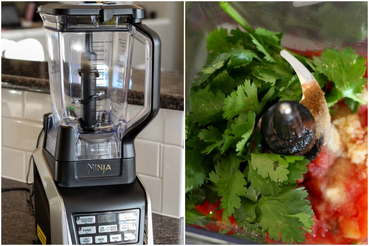 Nutri Ninja Blender + How to make salsa process shot