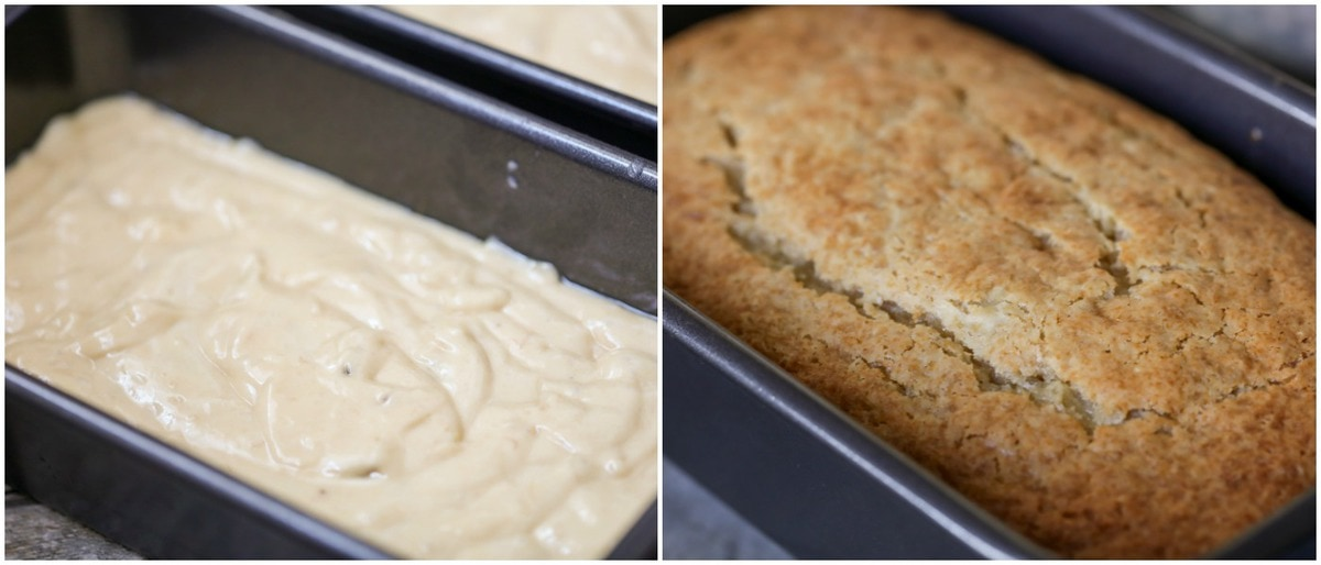 Easy Banana Bread process pics - unbaked batter in bread pan and baked loaf