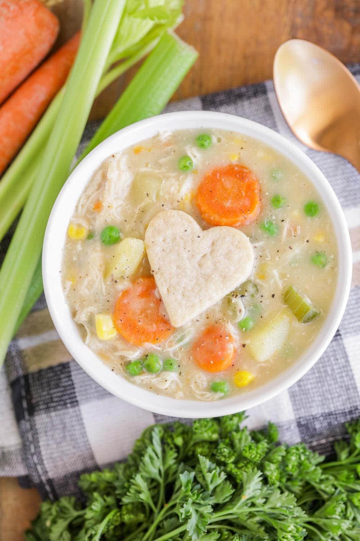 Chicken pot pie soup recipe in bowl