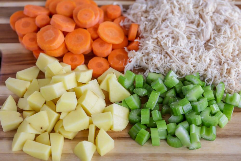 Veggies for chicken pot pie soup