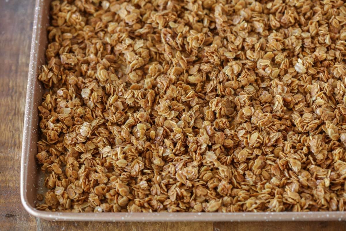 coated oats on a baking sheet