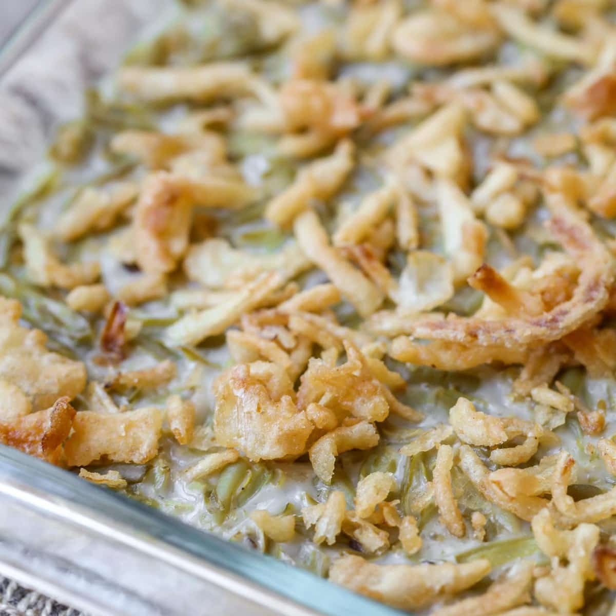 Green Bean Casserole in a glass casserole dish