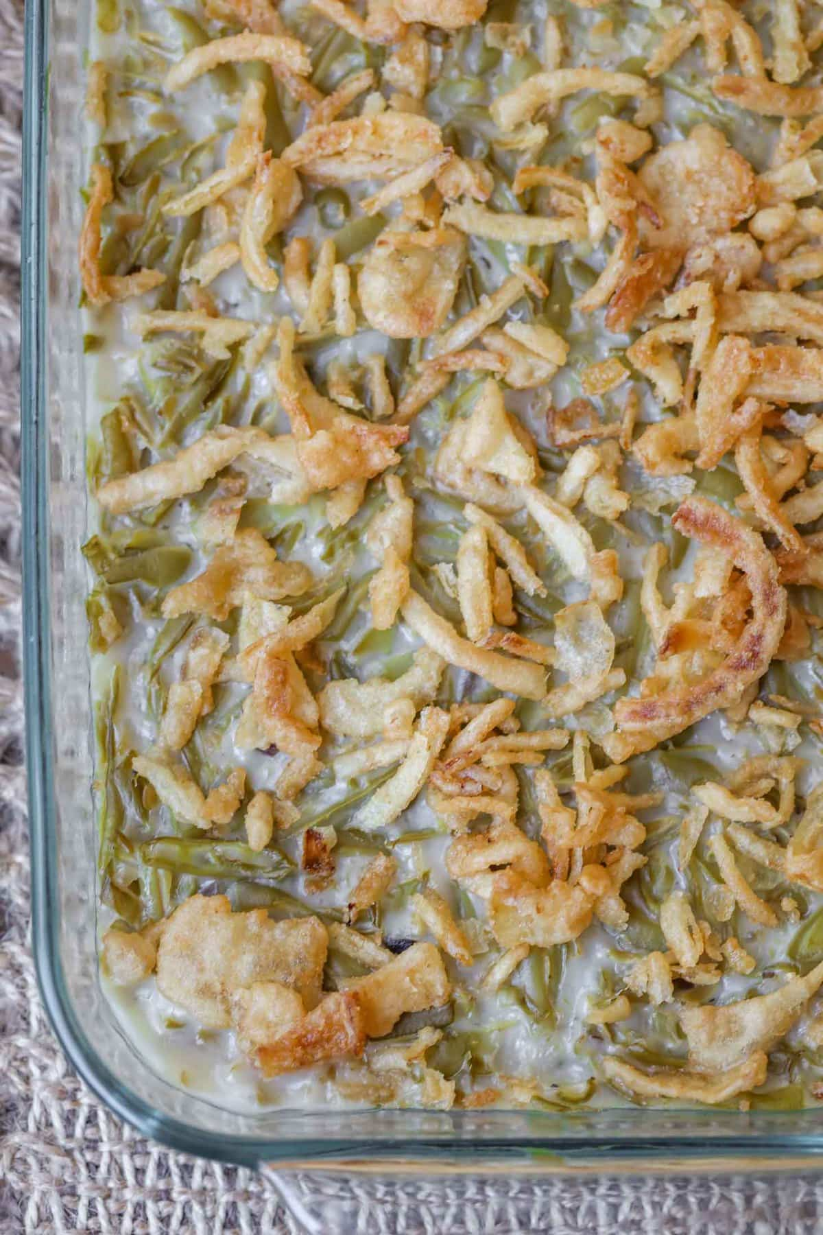 Easy Green Bean Casserole in a casserole pan