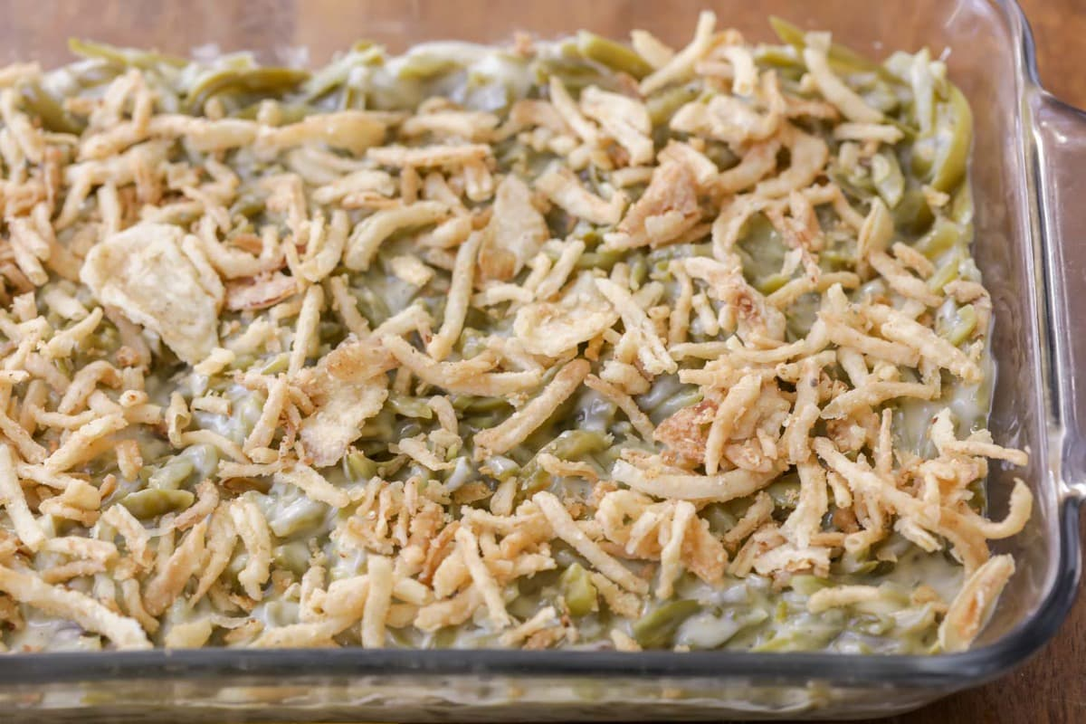 Homemade Green Bean Casserole in a glass casserole dish