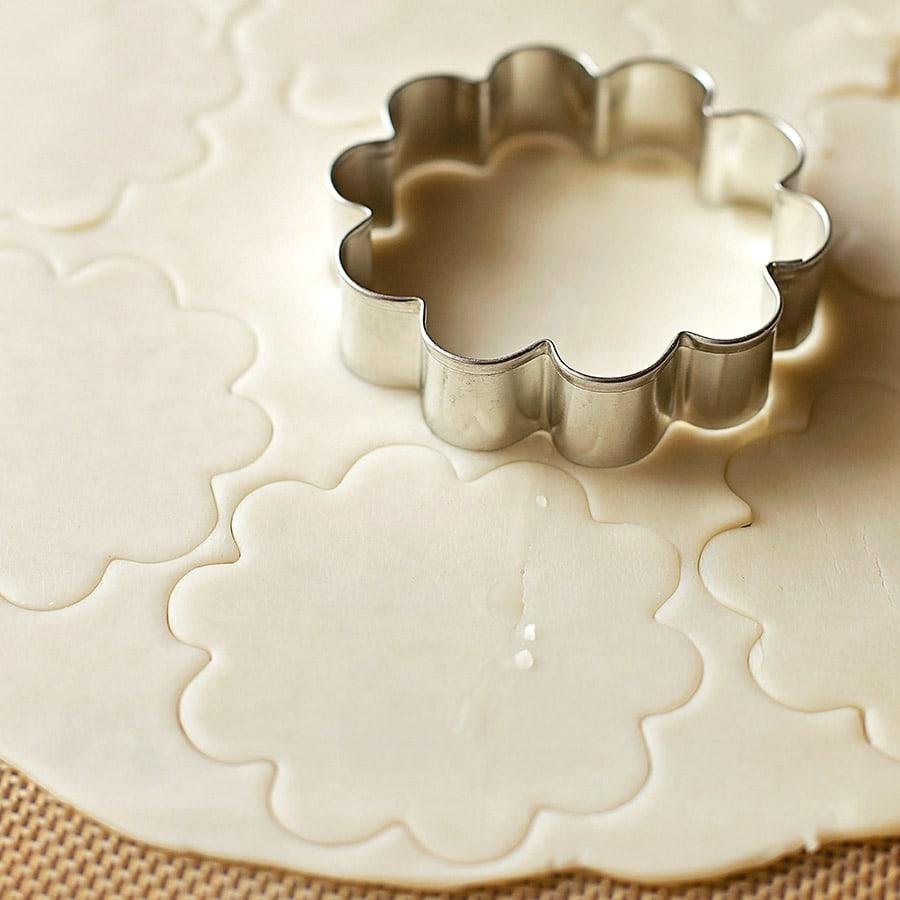 Pie crust cut with a floral cookie cutter