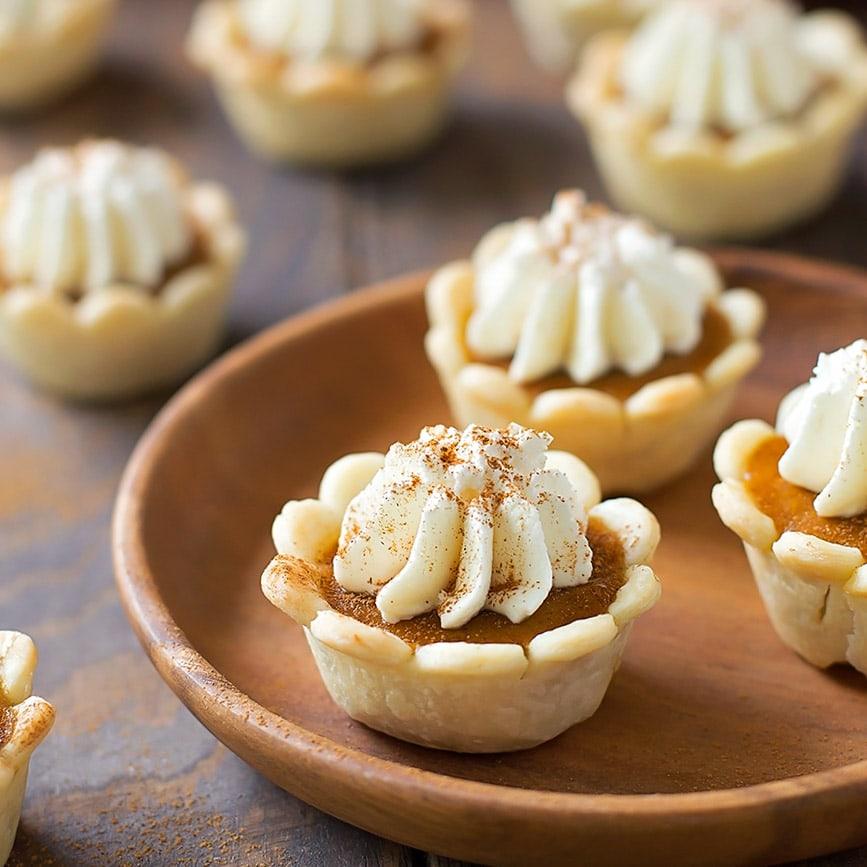 Mini Thanksgiving desserts - mini pumpkin pies