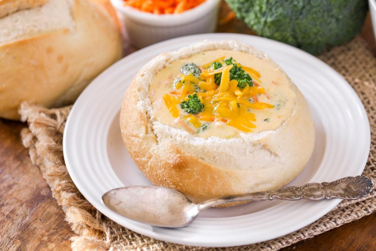 Panera Broccoli Cheddar Soup in bread bowl