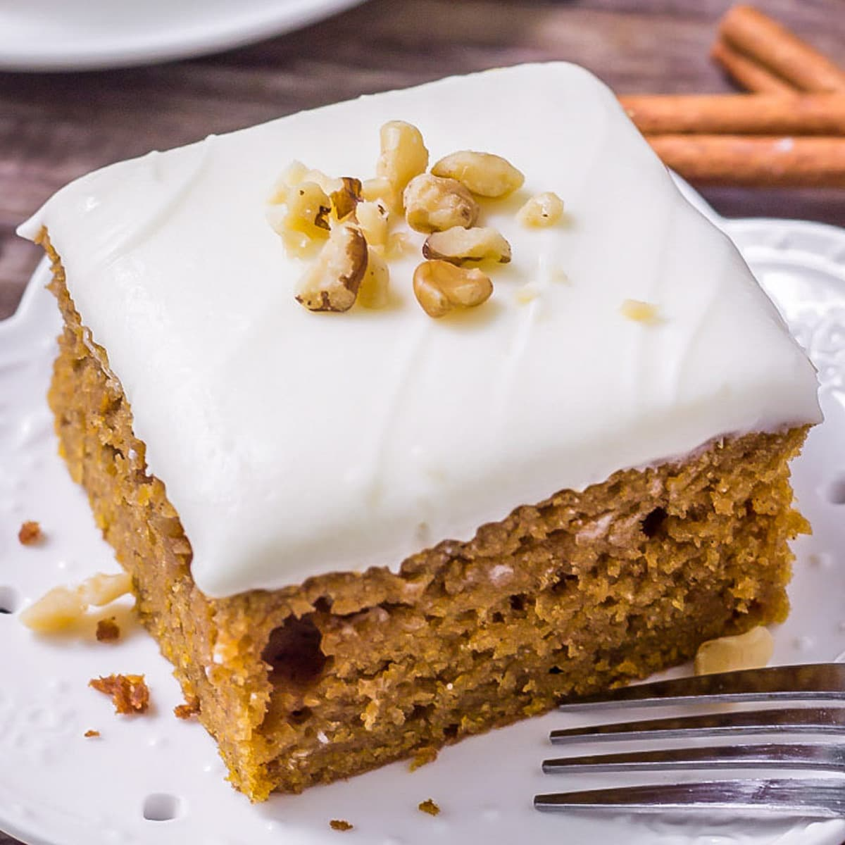 slice of Pumpkin Cake on a plate