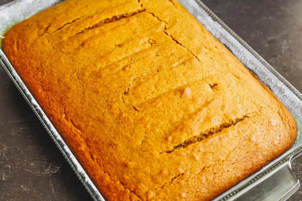 Pumpkin cake unfrosted in pan