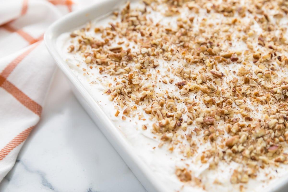 pumpkin delight dessert in a white baking dish