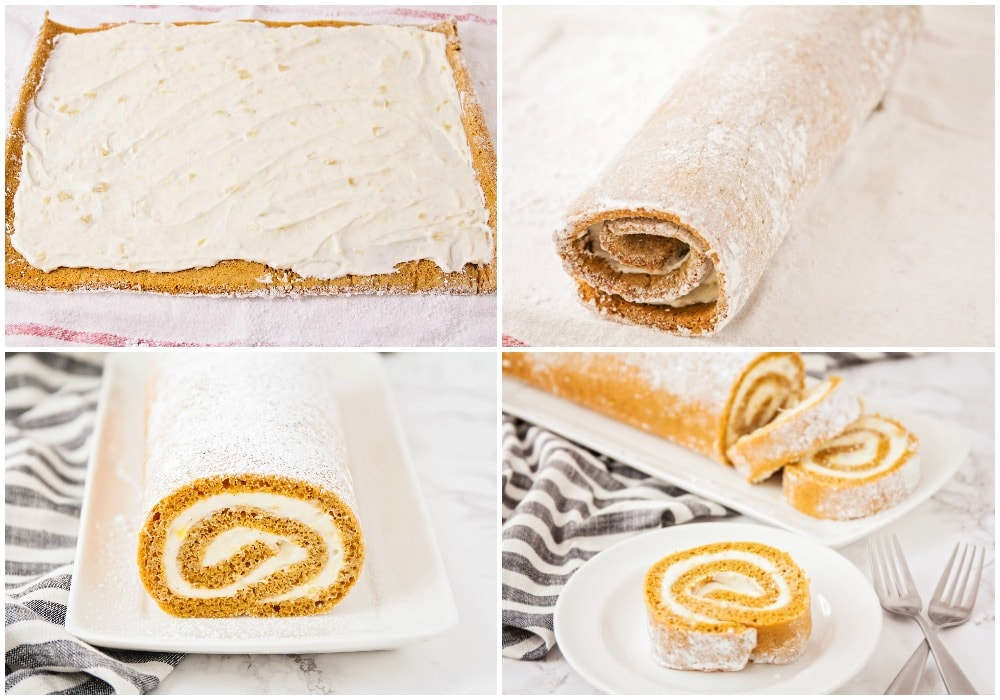 Libby's Pumpkin Roll process pics with Cream Cheese filling spread on top